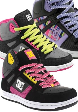 DC Rebound Purple boots - womens skate shoes - hi top trainers - DC shoes UK