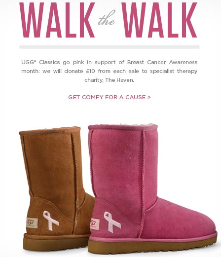 UGG boots supporting breast cancer awareness week