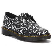 Dr Martens 1461 Shoes Script Print - Black/White