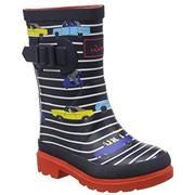 Kids Joules Welly French Navy Stripe + Cars