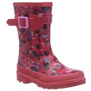 Kids Joules Welly Deep Pink Inky Ditsy
