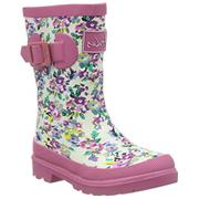 Kids Joules Welly White Ditsy