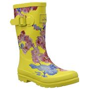 Kids Joules Welly Yellow Floral